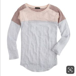J. Crew linen baseball t-shirt in pink mix stripe
